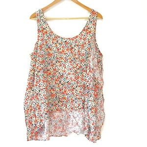 BCBG side ruffle floral high low tank top large